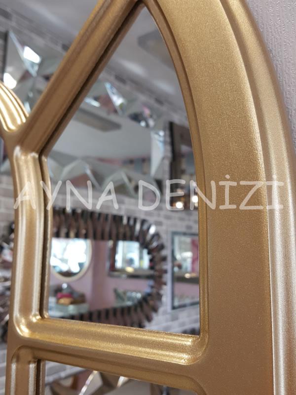 Bergamo Model Altın Renk Dekoratif Pencere Ayna-19