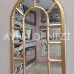 Bergamo Model Altın Renk Dekoratif Pencere Ayna-2