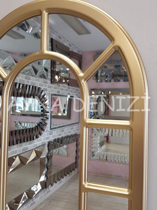 Bergamo Model Altın Renk Dekoratif Pencere Ayna-23