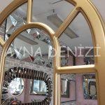 Bergamo Model Altın Renk Dekoratif Pencere Ayna-24