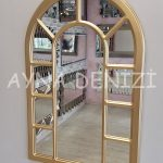 Bergamo Model Altın Renk Dekoratif Pencere Ayna-3