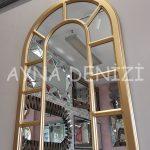 Bergamo Model Altın Renk Dekoratif Pencere Ayna-4