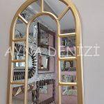 Bergamo Model Altın Renk Dekoratif Pencere Ayna-6