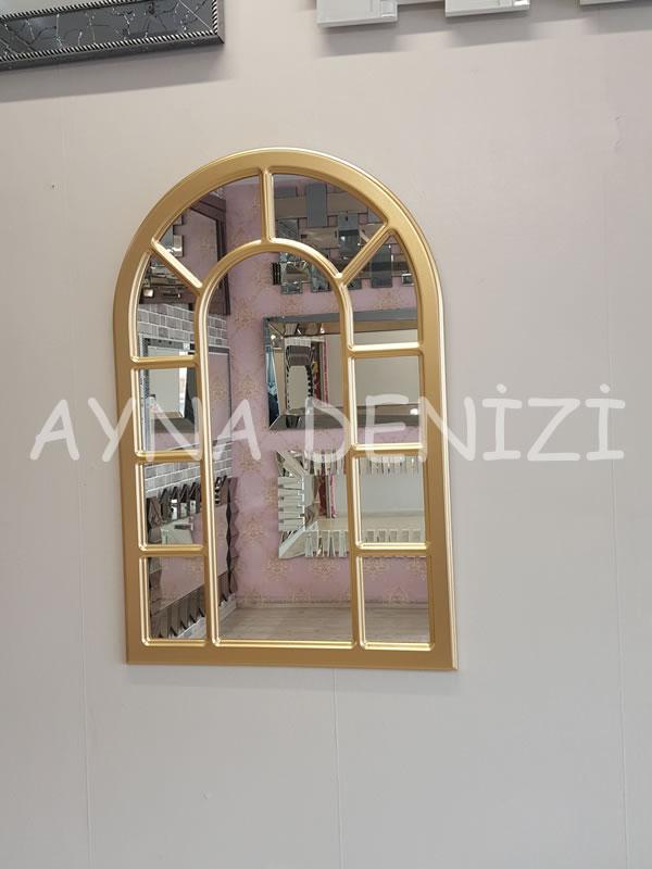 Bergamo Model Altın Renk Dekoratif Pencere Ayna-8