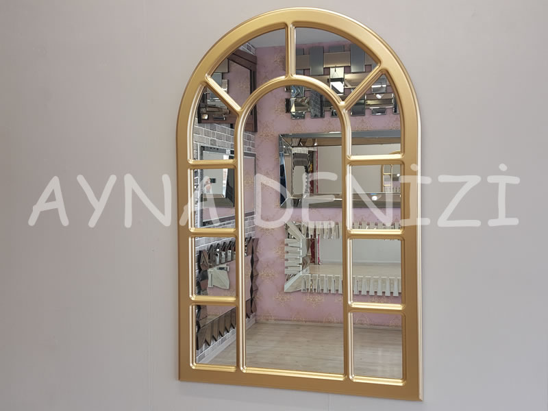 Bergamo Model Altın Renk Dekoratif Pencere Ayna