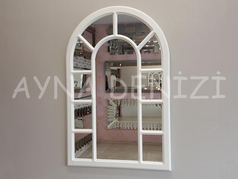 Bergamo Model Beyaz Renk Dekoratif Pencere Ayna-1