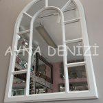 Bergamo Model Beyaz Renk Dekoratif Pencere Ayna-10