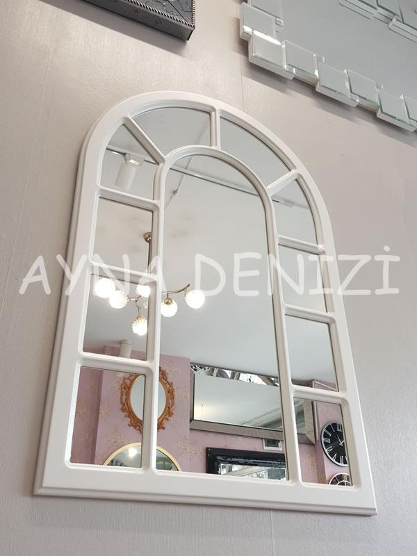 Bergamo Model Beyaz Renk Dekoratif Pencere Ayna-11