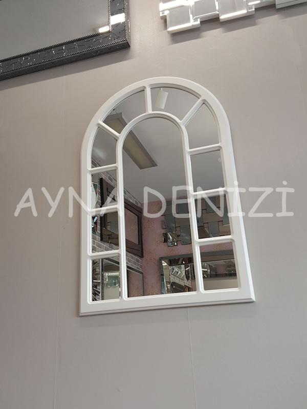 Bergamo Model Beyaz Renk Dekoratif Pencere Ayna-13
