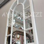 Bergamo Model Beyaz Renk Dekoratif Pencere Ayna-14