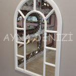 Bergamo Model Beyaz Renk Dekoratif Pencere Ayna-15