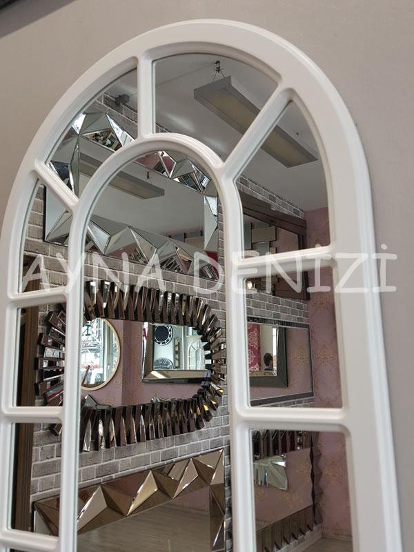 Bergamo Model Beyaz Renk Dekoratif Pencere Ayna-18