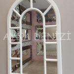 Bergamo Model Beyaz Renk Dekoratif Pencere Ayna-2
