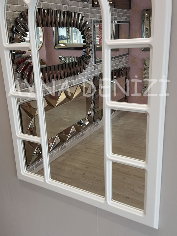 Bergamo Model Beyaz Renk Dekoratif Pencere Ayna-20