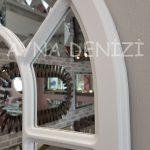 Bergamo Model Beyaz Renk Dekoratif Pencere Ayna-23