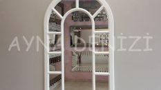 Bergamo Model Beyaz Renk Dekoratif Pencere Ayna