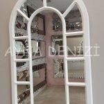 Bergamo Model Beyaz Renk Dekoratif Pencere Ayna-3