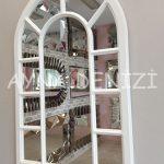 Bergamo Model Beyaz Renk Dekoratif Pencere Ayna-4