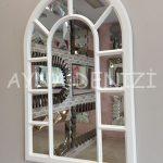Bergamo Model Beyaz Renk Dekoratif Pencere Ayna-5