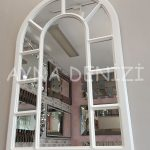 Bergamo Model Beyaz Renk Dekoratif Pencere Ayna-6