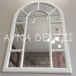 Bergamo Model Beyaz Renk Dekoratif Pencere Ayna-7