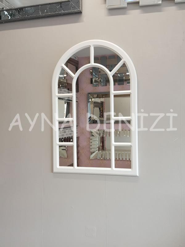 Bergamo Model Beyaz Renk Dekoratif Pencere Ayna-8