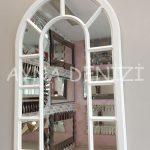 Bergamo Model Beyaz Renk Dekoratif Pencere Ayna-9