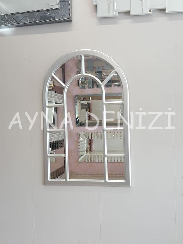 Bergamo Model Gümüş Renk Dekoratif Pencere Ayna-10