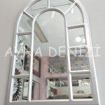 Bergamo Model Gümüş Renk Dekoratif Pencere Ayna-12