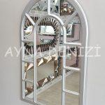 Bergamo Model Gümüş Renk Dekoratif Pencere Ayna-13