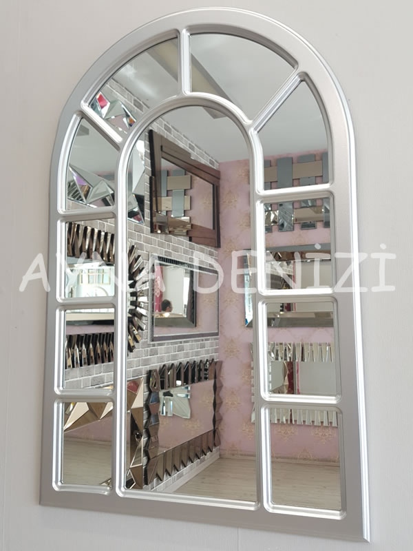 Bergamo Model Gümüş Renk Dekoratif Pencere Ayna-14