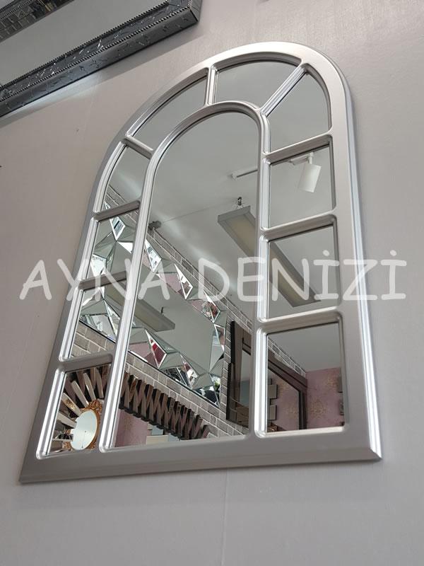 Bergamo Model Gümüş Renk Dekoratif Pencere Ayna-16