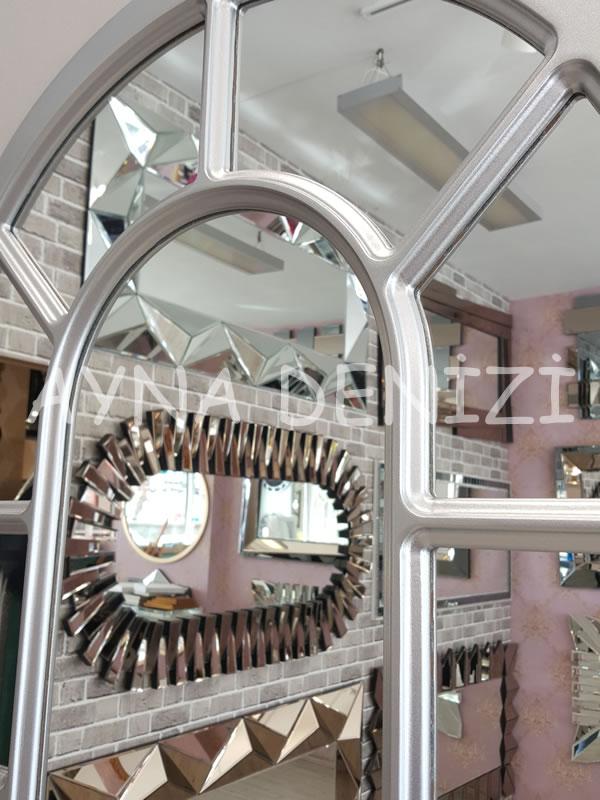 Bergamo Model Gümüş Renk Dekoratif Pencere Ayna-19