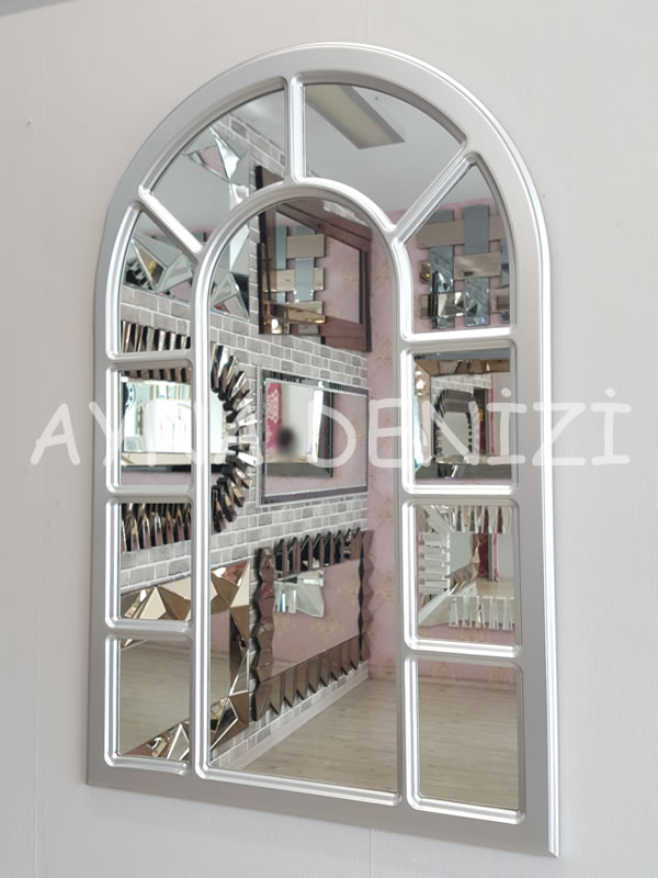 Bergamo Model Gümüş Renk Dekoratif Pencere Ayna-3