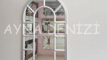 Bergamo Model Gümüş Renk Dekoratif Pencere Ayna