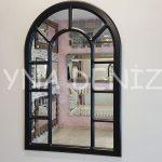 Bergamo Model Siyah Renk Dekoratif Pencere Ayna-1