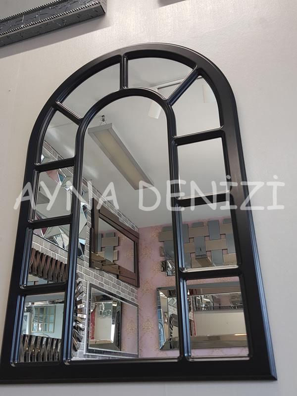 Bergamo Model Siyah Renk Dekoratif Pencere Ayna-11