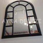 Bergamo Model Siyah Renk Dekoratif Pencere Ayna-13