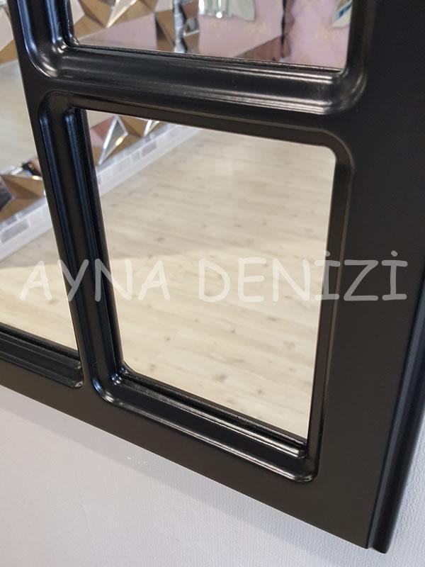 Bergamo Model Siyah Renk Dekoratif Pencere Ayna-16