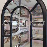 Bergamo Model Siyah Renk Dekoratif Pencere Ayna-18