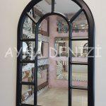 Bergamo Model Siyah Renk Dekoratif Pencere Ayna-2