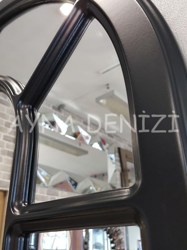 Bergamo Model Siyah Renk Dekoratif Pencere Ayna-21