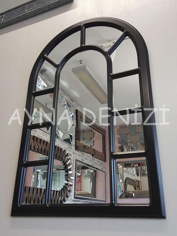 Bergamo Model Siyah Renk Dekoratif Pencere Ayna-3