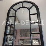 Bergamo Model Siyah Renk Dekoratif Pencere Ayna-4