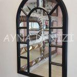 Bergamo Model Siyah Renk Dekoratif Pencere Ayna-5