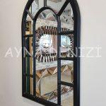 Bergamo Model Siyah Renk Dekoratif Pencere Ayna-6