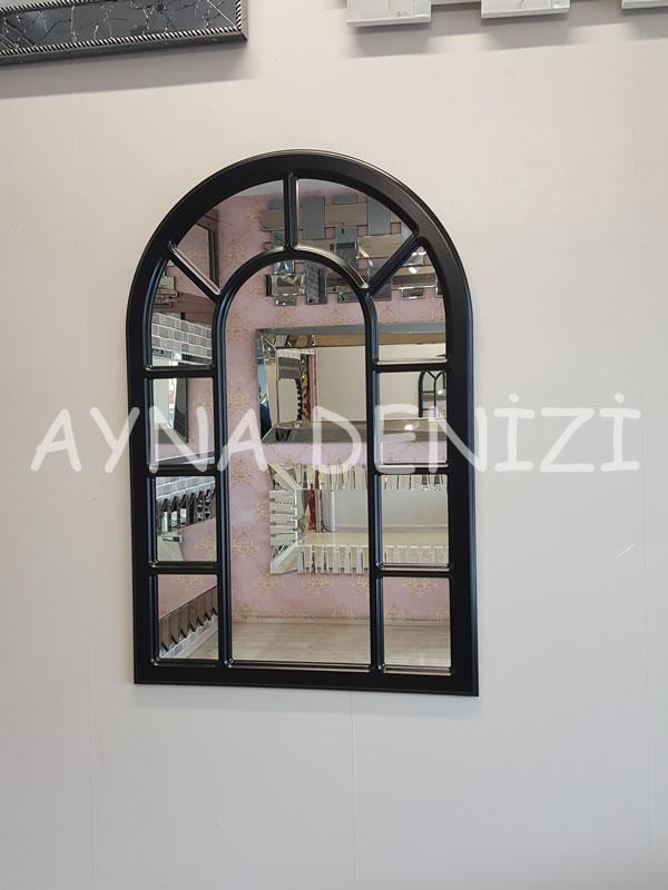 Bergamo Model Siyah Renk Dekoratif Pencere Ayna-8