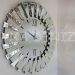 Güneş Duo Silver Model Siyah Gümüş Renk Dekoratif Aynalı Duvar Saati-1