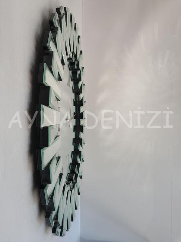 Güneş Duo Silver Model Siyah Gümüş Renk Dekoratif Aynalı Duvar Saati-10