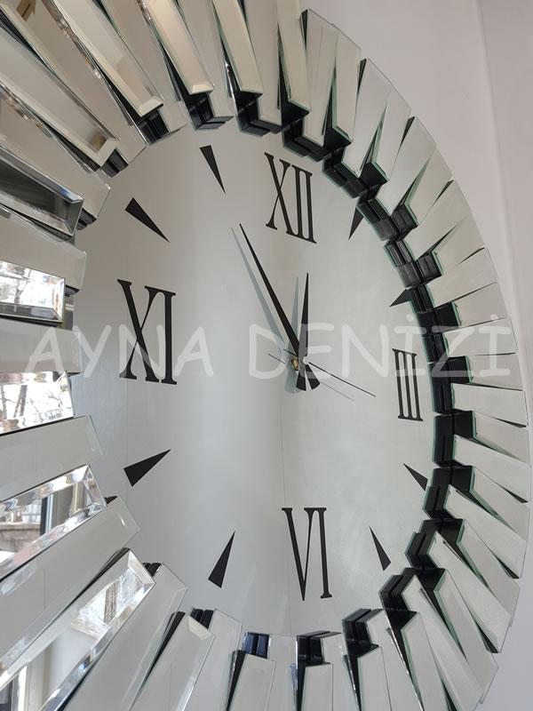 Güneş Duo Silver Model Siyah Gümüş Renk Dekoratif Aynalı Duvar Saati-14